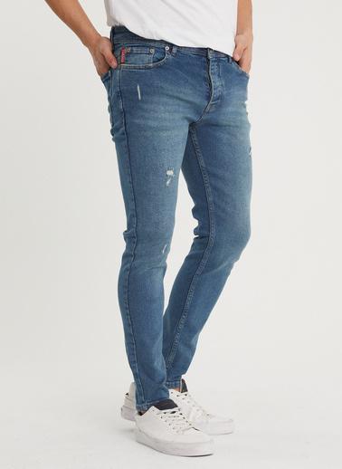 XHAN Yıkamalı Lacivert Slim Fit Jean Pantolon 1Kxe5-44352-48 Mavi